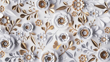 3d Render, Abstract Background With White Paper Flowers And Golden Leaves, Floral Botanical Wallpaper