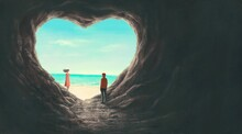 Love Concept Artwork, Man And Woman With Heart Cave And Sea, Imagination Painting, 3d Illustration, Surreal Conceptual Art, Fantasy Landscape