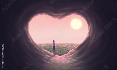 Love concept art Floating woman with heart cave, imagination painting, 3d illustration, conceptual artwork, fantasy nature landscape