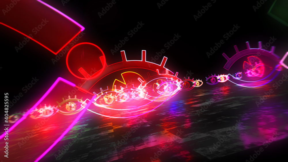 Fototapeta Cyber eye spying symbol abstract 3d illustration
