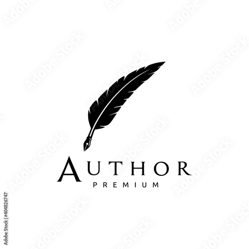 Feather Quill Pen Icon Logo Design Classic Stationery Illustration Fototapete