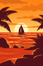 Tropical Sunset With Palm Trees