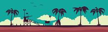 Lifeguard Station On A Beach. Vector Illustration With Tropical Landscape. Vector Illustration EPS 10.