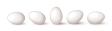 Set Of Realistic White Eggs On White Background. Realistic Eggs In Different Positions. Vector Illustration With 3d Decorative Objects For Easter Design.
