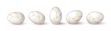Set Of Realistic White Eggs With Gold Liquid. Realistic White Eggs In Different Positions. Vector Illustration With 3d Decorative Objects For Easter Design.