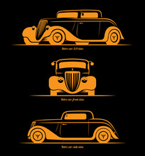 Set Of Hot Rod Or Vintage Custom Sports Car Silhouettes. Front, Side And 3/4 View. Vector Background