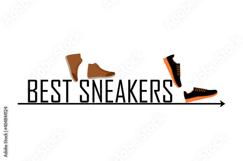 Best sneakers inscription. Vector illustration. Design logo, signboard and other ideas.