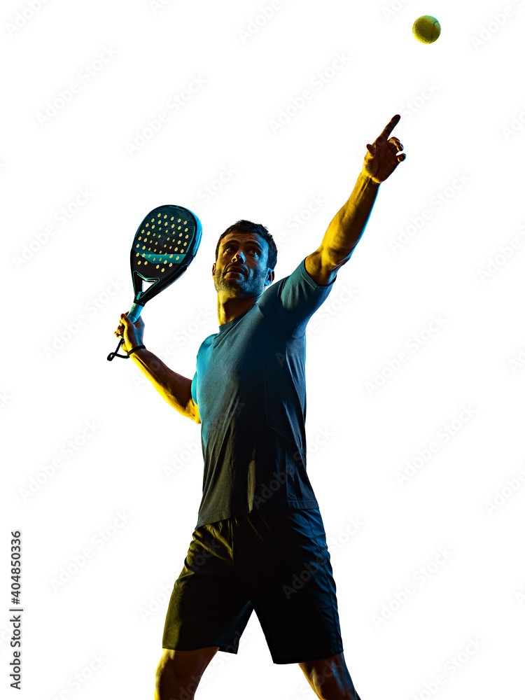 Obraz one caucasian mature man Paddle Padel tennis player shadow silhouette in studio isolated on white background fototapeta, plakat
