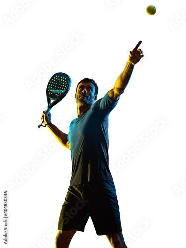 Canvas one caucasian mature man Paddle Padel tennis player shadow silhouette in studio