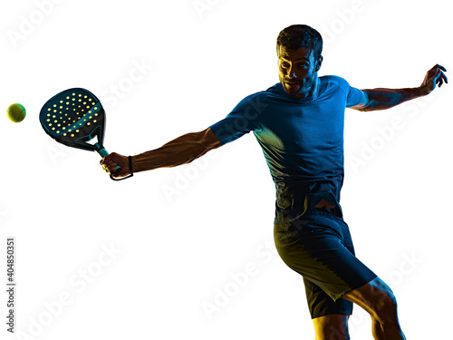 one caucasian mature man Paddle Padel tennis player shadow silhouette in studio Fotobehang