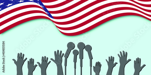Obraz Vector illustration Martin Luther King Day greeting card - American flag abstract background - fototapety do salonu