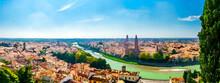 Watercolor Drawing Of Panorama Of Verona Historical City Centre, Bridges Across Adige River, Basilica Di Santa Anastasia, Medieval Buildings With Red Tiled Roofs