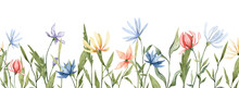 Seamless Banner With Hand Painted Watercolor Flowers