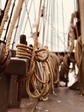 Close-up Of Ropes Tied In Ship