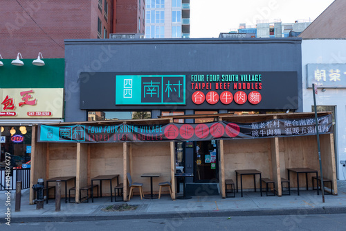 Empty Outdoor Dining Structure at a Restaurant in Flushing Queens during the Covid 19 Pandemic on November 4, 2020 in New York, New York