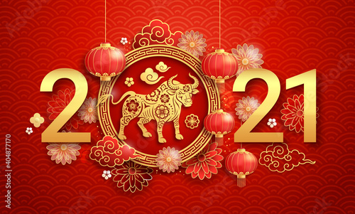 Obraz Chinese new year 2021 greeting card background the year of the ox. Vector illustrations. - fototapety do salonu