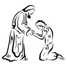 Returned Prodigal Son Kneeling Asks Forgiveness From Loving Father