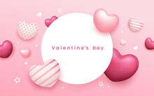 Valentine's Day Circle Space, Balloon Heart Pink Colorful Banners Design On Pink Background, Eps 10 Vector Illustration