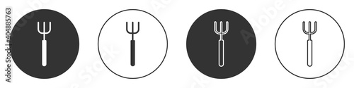 Fotografia, Obraz Black Garden pitchfork icon isolated on white background
