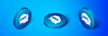 Isometric Uno Card Game Icon Isolated On Blue Background. Blue Circle Button. Vector.