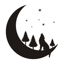 The Silhouette Of A Wolf On A Crescent Moon Sits And Howls