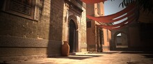 Empty Street Of A Tradititonal Oriental City. Old Stone Buildings In The Rays Of The Bright Sun. Photorealistic 3D Illustration. A Calming Cityscape.