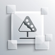 Grey Road Sign Avalanches Icon Isolated On Grey Background. Snowslide Or Snowslip Rapid Flow Of Snow Down A Sloping Surface. Square Glass Panels. Vector.