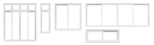 Real Modern House Window Frame Set Collection Isolated On White Background With Clipping Path
