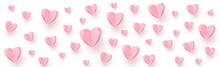 Gently Pink-red Hearts On A White Background