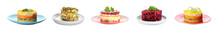 Set Of Traditional Russian Salads On White Background. Banner Design