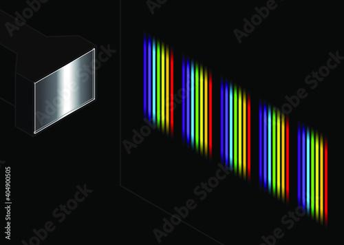 Obraz na plátně A diffraction grating splitting white light into a series of spectra