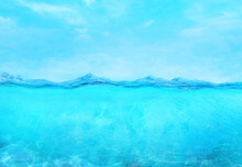 Underwater Calm Ocean Wave Surface And Blue Sky Splitted By Waterline. 3D Illustration With Translucent Deep Underwater Sea Design Template. Horizon Tropical Turquoise Clean Water Seascape Background