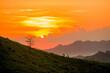 Leinwandbild Motiv Scenic View Of Field Against Orange Sky