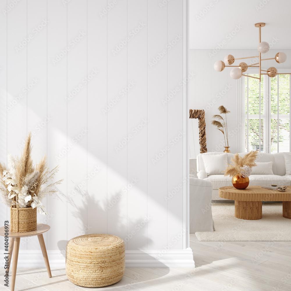 Fototapeta Coastal boho living room interior background, wall mockup, 3d render