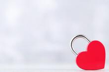 Valentine Heart Shaped Padlock On Grey Background