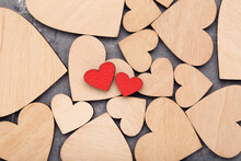 Wooden Hearts On Grey Background