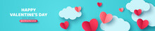 Horizontal Banner With Blue Sky, Paper Cut Clouds And Red Hearts. Place For Text. Happy Valentines Day Sale Header Or Voucher Template.