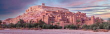 Ait Benhaddou Casbah At Sunset Near Ouarzazate City In Morocco, Africa