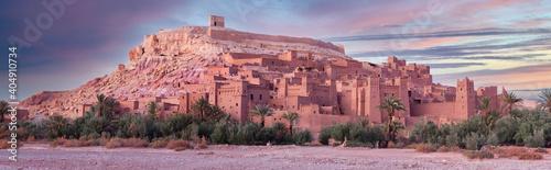 Fototapeta Ait Benhaddou Casbah at sunset near Ouarzazate city in Morocco, Africa