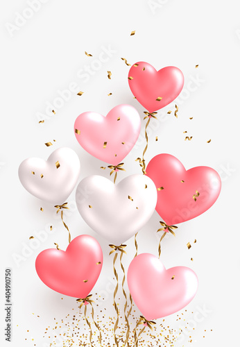 Valentine's day design. Realistic white and pink balloons. Ballon bunch with falling golden confetti. Decorative holiday banner, festive web poster, flyer, brochure, cover. Romantic card background