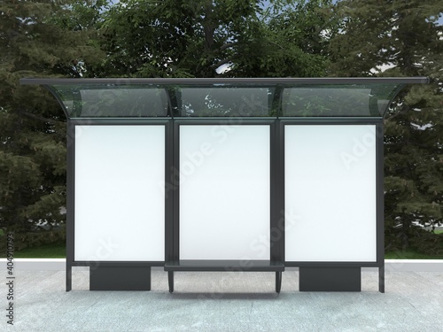 Tela Bus station mockup with 3 empty spaces