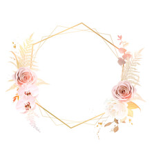 Trendy Dried Fern Leaves, Blush Pink Rose, Pale Orchid, White Ranunculus, Pampas Grass
