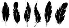 Silhouette Feather Icon Set. Logo Of Bird Feather On White Background. Vector Illustration