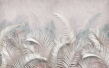 3d picture of palm leaves on the background