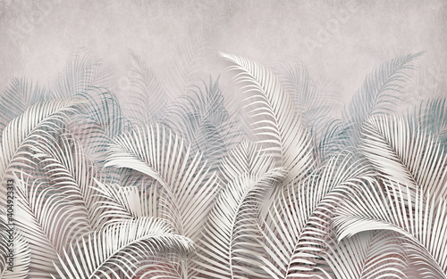3d picture of palm leaves on the background - fototapety na wymiar