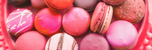 Macarons Pink And Red Velvet French Confectionery For Valentine's Day Banner Background.
