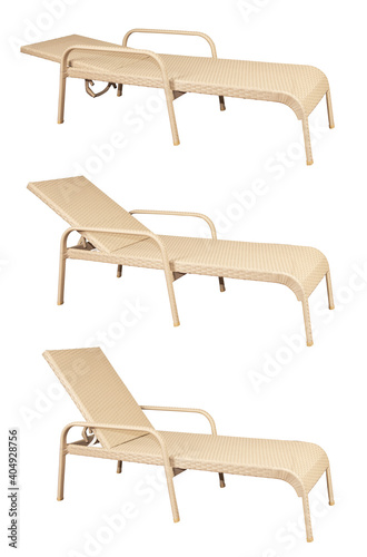 Obraz na plátně Set of rattan sun loungers with three different headrest positions