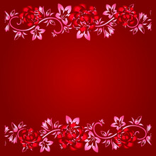 The Frame Of Red Roses And Rose Petals On A Red Isolated Background. The Element For Decoration.Rose Frame With Space For Text. Romantic. Love, Rose Design For Valentine's Day Or Weddings And Mother's