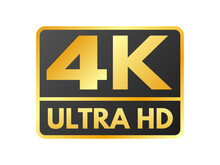 4K Ultra HD Icon On White Backdrop. High Definition Label. Gold UHD Symbol. 4K Resolution Color Mark. UHD 2160p Video Icon Isolated. Vector Illustration