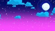 canvas print picture - Cartoon background with motion clouds and moon, abstract backdrop